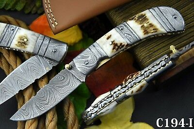 Damascus Steel Folding Knife Handmade With Stag Horn Handle (C194-I)