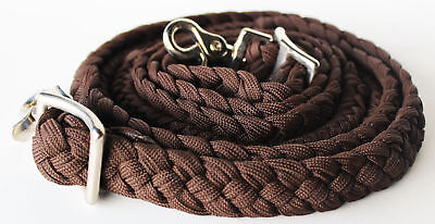 Roping Knotted Horse Tack Western Barrel Reins Rein Nylon Braided Brown 60728