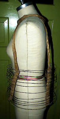 Antique CIVIL WAR Era Crinoline Girl Hoop Cage Skirt Skeleton Dress Steam Punk