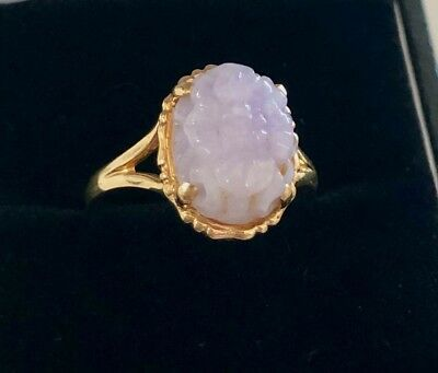 Estate Vintage Chinese 14k Solid Gold Carved Lavender Jadeite Ring 2.95g
