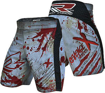 RDX MMA Blood Shorts Mens Boxing Muay Thai Kick Grappling UFC Cage Fight Large