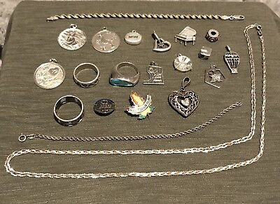Vintage Sterling Silver Jewelry Lot NO Scrap (All Marked) 75.1g (21 Pieces)