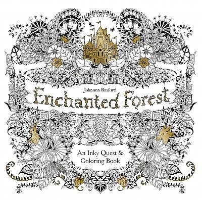 Enchanted Forest : An Inky Quest & Coloring Book, Paperback by Basford, Johan...