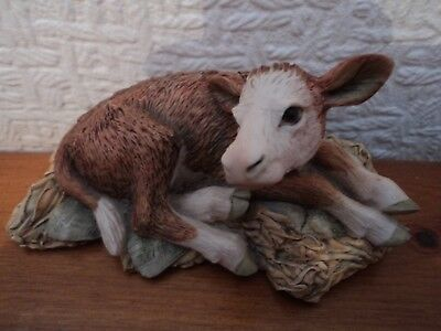 Vintage Signed (Border Fine Arts-Scotland) Hand Painted/crafted Hereford Calf.