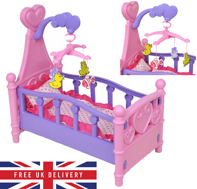 Pink Dolls Rocking Bed Cradle Fun Toy Crib Cot Girl Kid W/Mobile Blanket Pillow
