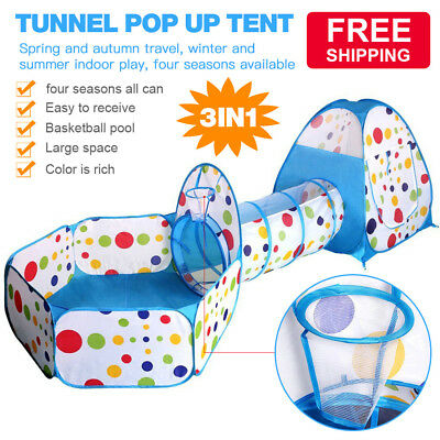 Portable 3PCS Tunnel Pop Up Childrens Kids Baby Tent Tunnel Ball Playhouse