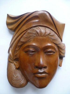 Large 9'' Vintage Balinese Solid Teak Hand Wood Carving Wall Plaque Womans Face
