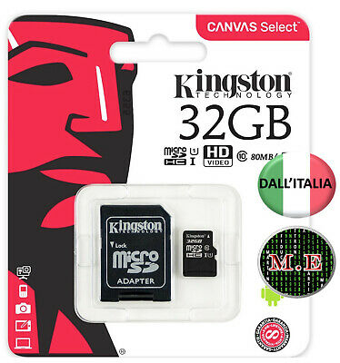 KINGSTON Micro SD 32 GB classe 10 MICROSD 80 MB/S Canvas SCHEDA MEMORIA ORIGINAL