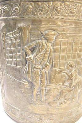 Vintage English Brass Bucket Embossed Flowerseller Scene Hearth Planter Trashcan