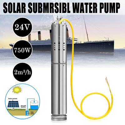 DC 24V 750W Solar Water Powered  Submersible Bore Hole Pond Deep Well