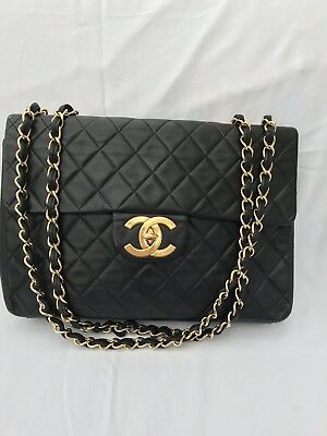 d3d222e5b76 CHANEL BLACK VERTICAL Quilted Lambskin Vintage Jumbo Xl Flap Bag ...