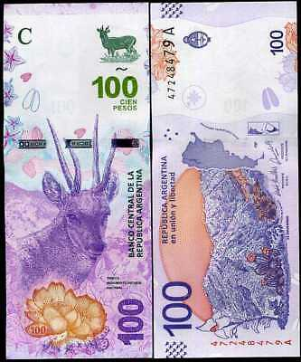 Argentina 100 Pesos Nd 2018 2019 P New Design Taruca Deer Unc Nr