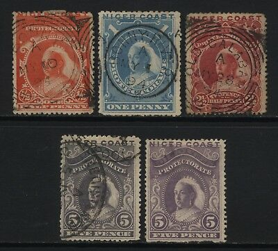 Niger Coast Protectorate Collection 5 Early QV Stamps Used / Unused Mounted