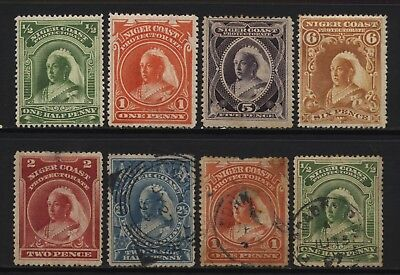 Niger Coast Protectorate From 1894 Collection 8 QV Stamps Used / Unused Mounted