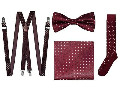 Cravatta Papillon Bretelle Pochette Calzini bordeaux a pois Made in Italy