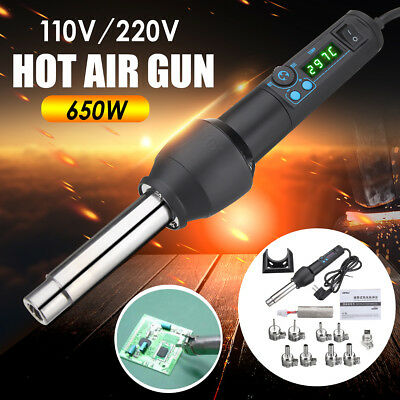 110V 220V 650W LED Adjustable Electronic Heat Hot Air Gun +9 Nozzle+Heating Core