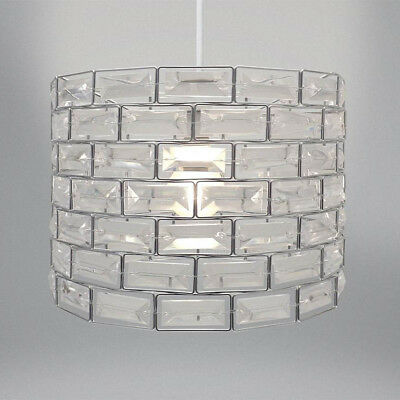 Easy Fit Silver and Clear Gem Ceiling Pendant Light Shade Fitting 29cm NEW