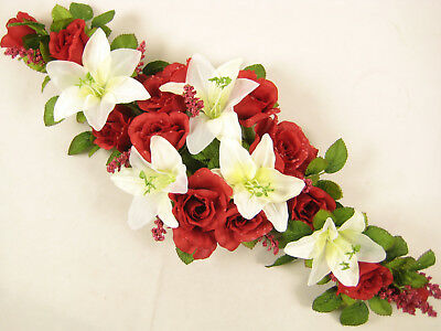 Wedding Artificial Flowers Dark Red Dew Drop Rose Cream Lily Table Centrepiece