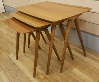 Retro Vintage Danish Scandi Style Nest of Tables Trio by Beaver & Tapley Teak