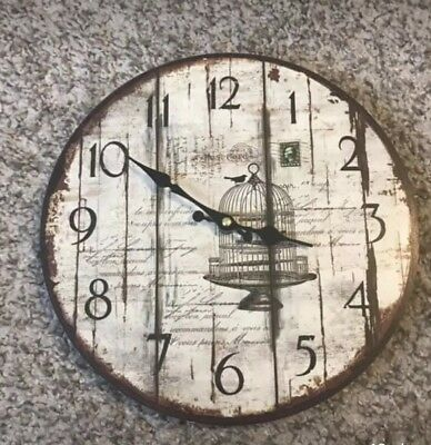 Quartz Wooden Wall Clock With Birdcage Art Vintage Wood Detail