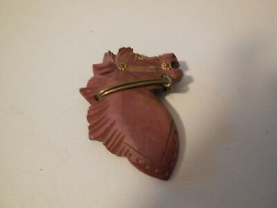 Large Vintage Carved Wooden Horse Head Pin, Glass Eye, Metal Bit