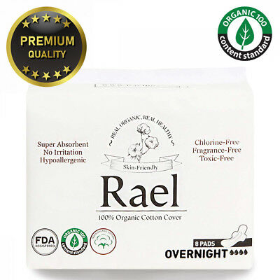 Rael 100% Organic Cotton Menstrual Overnight Pads - Thin Natural Sanitary...