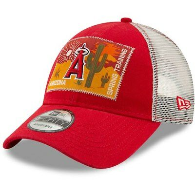 the best attitude 18a71 3e80f New Era Los Angeles Angels Red White Patched Trucker 3 9FORTY Adjustable