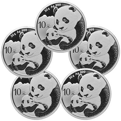 Lot of 5 2019 China 30 g Silver Panda 10Y Coins GEM BU SKU56942