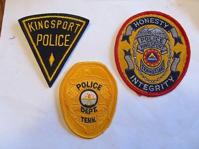Tennessee Kingsport Police Patch Set Left Felt Cheese Cloth