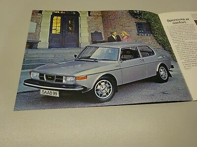 1976 SAAB 99 EMS SALES CARD, in FRENCH. 1975.