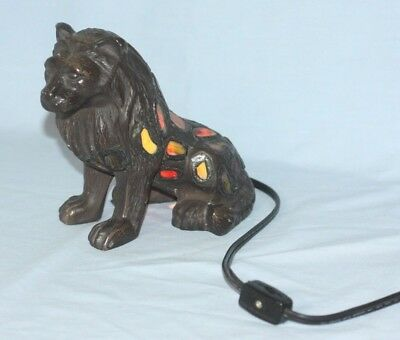 Stained Glass Lion Night Light Lamp