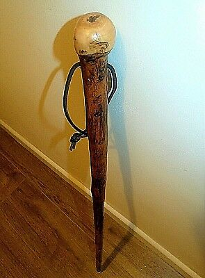 Knob Chestnut Wood Walking Stick One Piece Wooden Cane Rustic Style 93 Cm Length