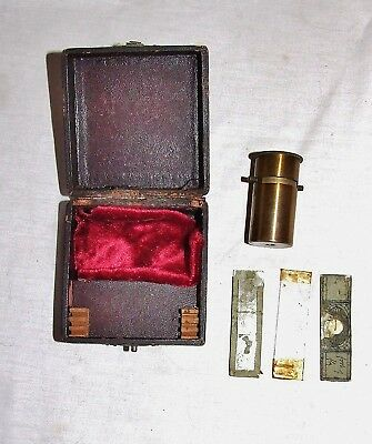 ANTIQUE MICROSCOPE~FIELD/POCKET MICROSCOPE IN BOX~19th Century