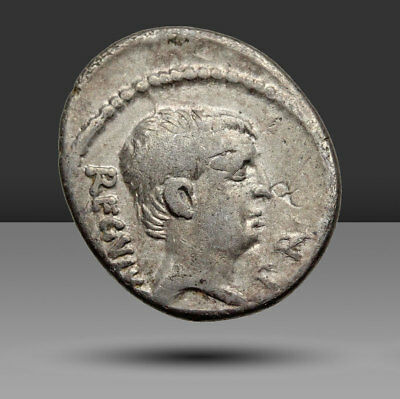 Moneyer issues of Imperatorial Rome. L. Livineius Regulus. 42 BC. AR Denarius.