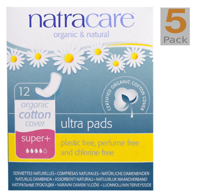 Natracare Organic Cotton Natural Ultra Pads Super+ 12 ea New !