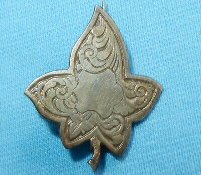 BEAUTIFUL VINTAGE STERLING SILVER OAK LEAF PIN BROOCH - ART DECO 3 cm