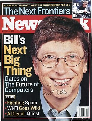 Bill Gates Autograph On Newsweek Cover 2002,with Support Letter