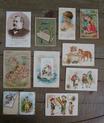 10 Different Antique 19th Century Advertising Cards, 1800's Victorian Trade