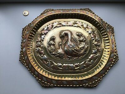 Antique Brass Plate Vintage Embossed Tray Wall Hanging Ducks
