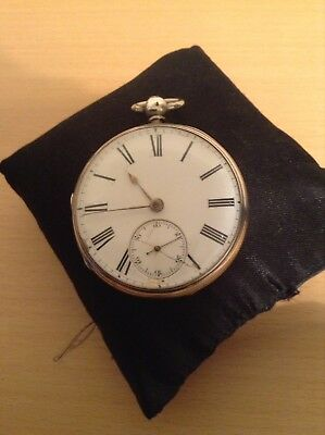 Antique Sterling Silver Pocket Watch For Spares /repair - 1861.maker Schuty ?