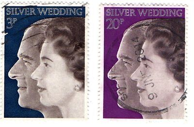 GB Stamps SG916-917 1972 Royal Silver Wedding. Queen Elizabeth and Duke of Edin