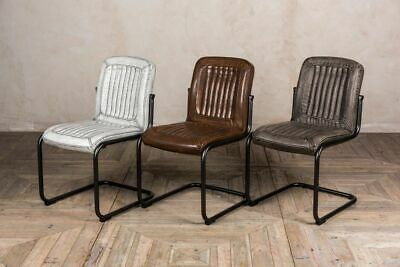 Leather Look Chairs Upholstered Metal Frame Dining Chairs