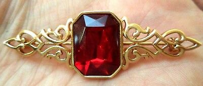"Stunning Vintage Estate Signed Parklane Red Rhinestone 2 1/4"" Brooch!!! 1833I"