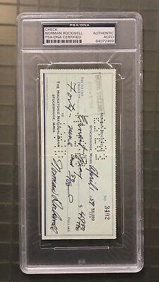 Norman Rockwell Signed 1959 Check Autographed PSA/DNA AUTO Famous Painter