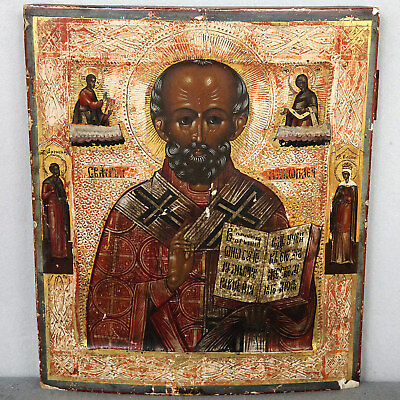 IKONE ANTIK NIKOLAUS VON MYRA 31x27cm old antique russian icon ST. NICHOLAS