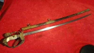 Rare Ww1 Imperial German Naval Sword With Damascus Blade- Leather Scabbard- Wk&c