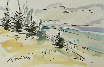 JOSE TRUJILLO MODERN Abstract Watercolor Painting Mountains Pines Scenic Sky