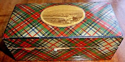 Antique Victoria TARTAN WARE Mauchline Ware lidded Box with Photograph