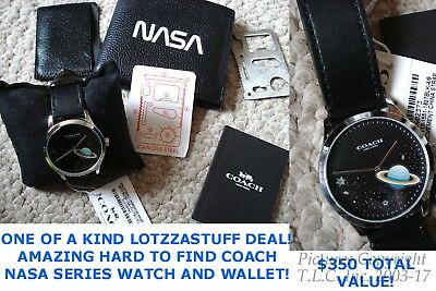 New Mens Coach Nasa Wallet F29309 Coach 14602373 Space Watch Gift Set-$350+Val!