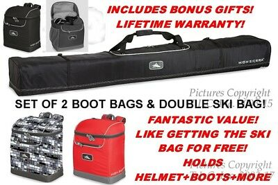 NEW Life Warranty High Sierra Double Ski Bag and Deluxe Boot Bags Combo + BONUS